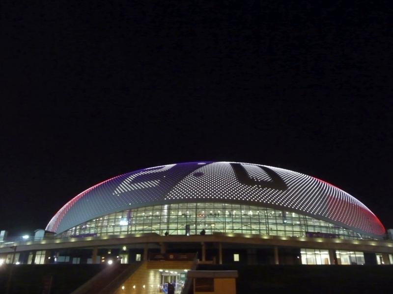 Leuchtendes Stadion